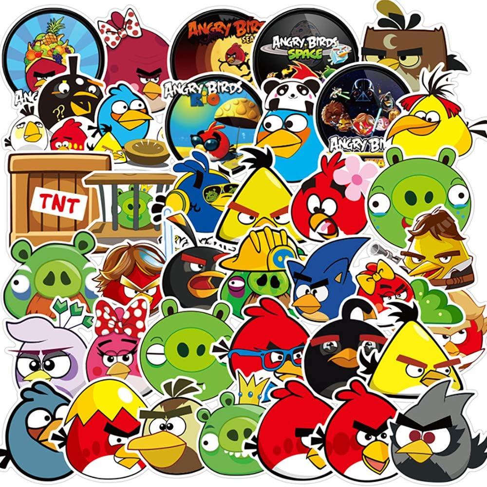 100 Pcs Cute Cartoon Anime Waterproof Vinyl Stickers of Angry Birds for Hydroflasks Car Luggage Phone Wall MacBook Water Bottle Computer Bike Laptop Refrigerator,Decals for Girls Kids Teens Boys.