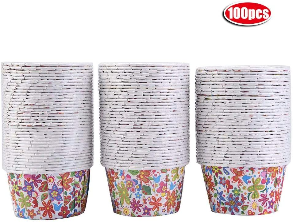 100PCS Mini Cupcake Liners Lunares/Estrellas Copas de papel para hornear, Estuches para muffins, Hacer bolas de pastel, Muffins, Cupcakes, Dulces, para cumpleaños (Flor del arco iris): Amazon.es: Hogar