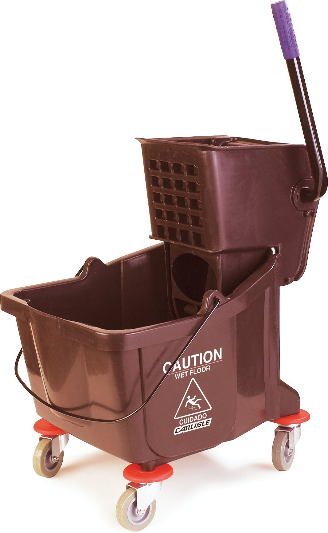 Carlisle 3690469 Commercial Mop Bucket With Side Press Wringer, 35 Quart Capacity, Brown