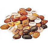 50PCS RockImpact Engraved Rocks Different Words Inspirational Stones Bulk Faith Stones Novelty Gifts Zen Stones…