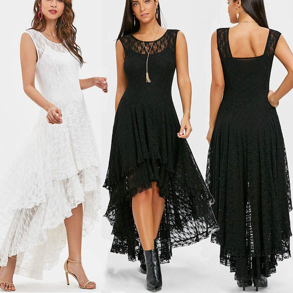Sonojie Clearance sale Fashion Women O-Neck Solid Sleeveless Lace Camise Hollow Out Suit Formal Evening Cocktail Swing Party Dress