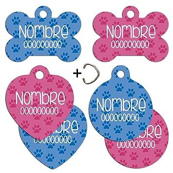 Placa identificativa para animales. Perro, gato... Chapa identificación nombre y teléfono. Patitas.