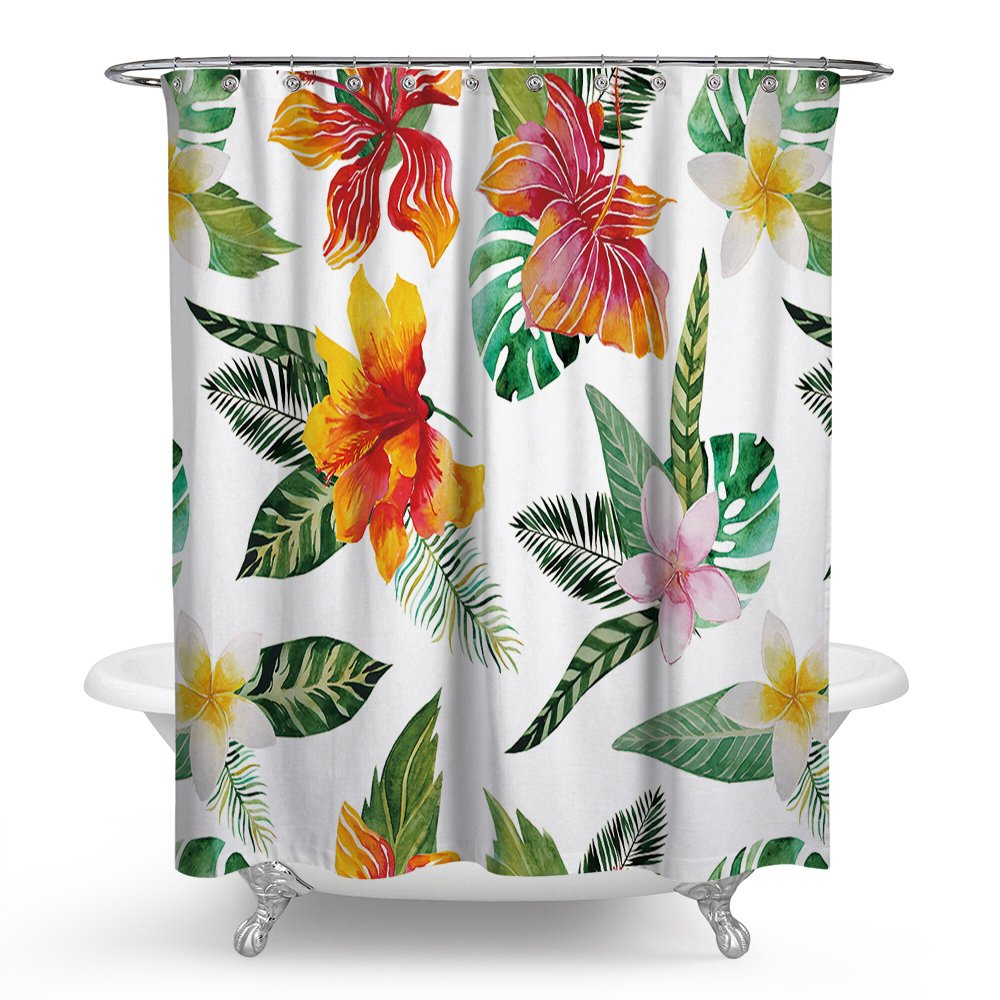 Amazon Huakz Tropical Palm Leaves Floral Shower Curtain Pink Orange Flower Bathroom Decor Polyester Fabric White Bath 70 X Inch Home