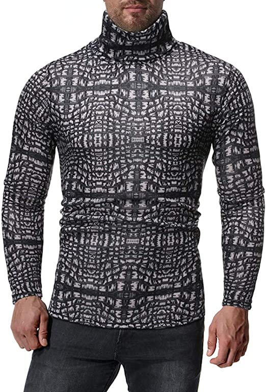 Men Knit Buttons Slim Mock Turtle Neck Long Sleeves Pullover Sweater