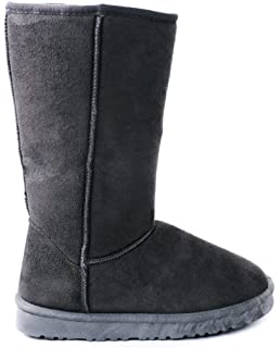 Amazon.com | Black Furry Winter Boots Vegan Fleece Women (5.5 ...