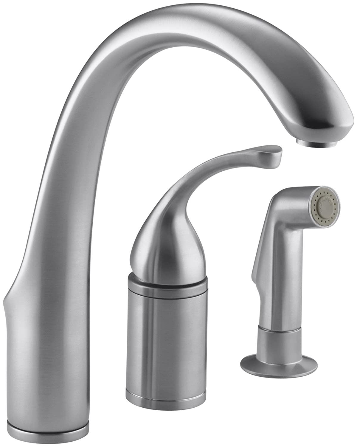 KOHLER K-10430-G Forte Single Control Remote Valve Kitchen Sink Faucet with Sidespray and Lever Handle, Brushed Chrome