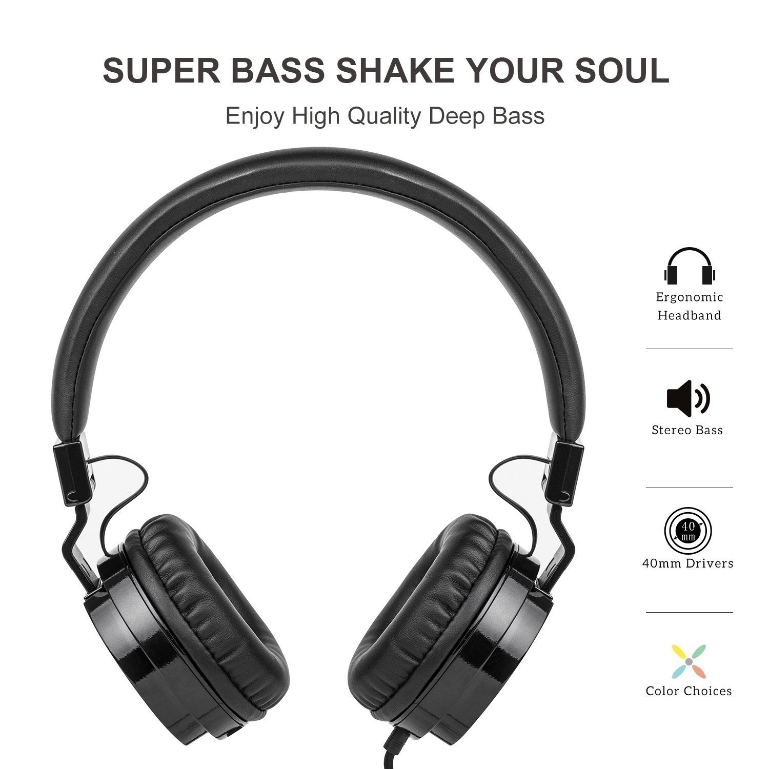 Picun Wired Headphones with Microphones for Computer Smartphones Tablet Laptop MP3/4,Earphones Over Ear Stereo Headsets with Deep Bass for Kids Teens Adults Black by Picun (Image #2)