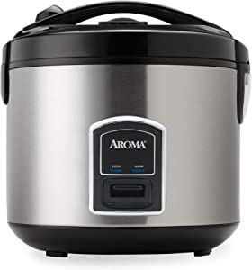 Aroma Housewares 20-Cup (Cooked) (10-Cup UNCOOKED) Cool Touch Rice Cooker and Food Steamer, Stainless Steel Exterior (ARC-900SB)