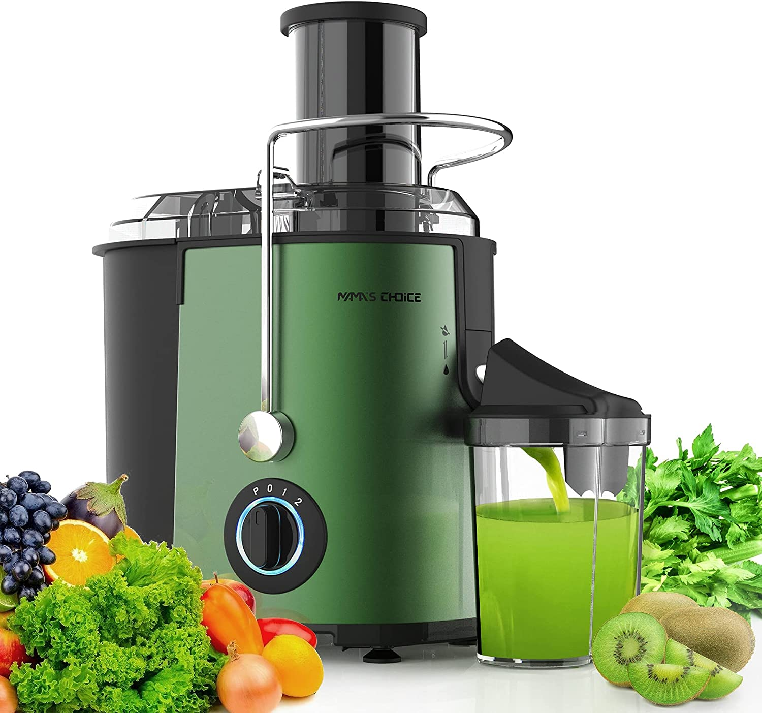 MAMA'S CHOICE Juicer Machine, Juice Extractor with Wide Feed Chute for Whole Fruit Vegetable, 800W Juicer Machine 3 Speed Control Fast Extract, Centrifugal Juicer with Anti-drip Function, Green