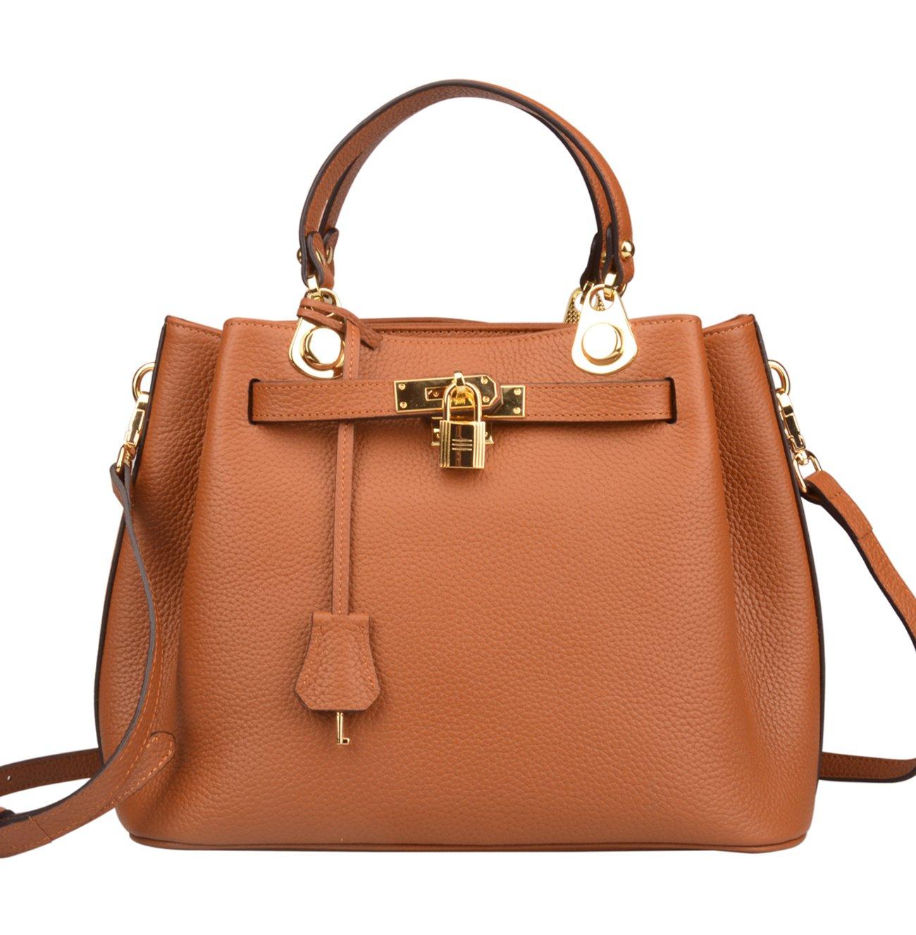 New Arrival Ainifeel Women's Buckle style Padlock Genuine Leather Top Handle Purse Shoulder Handbag Crossbody (Brown)