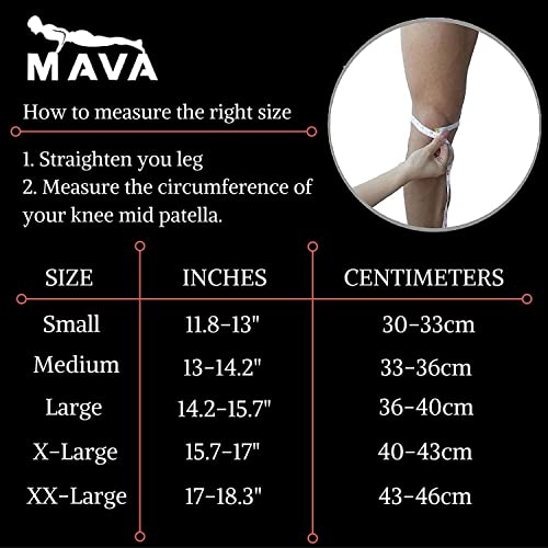 MAVA Knee Sleeves Sizing Chart