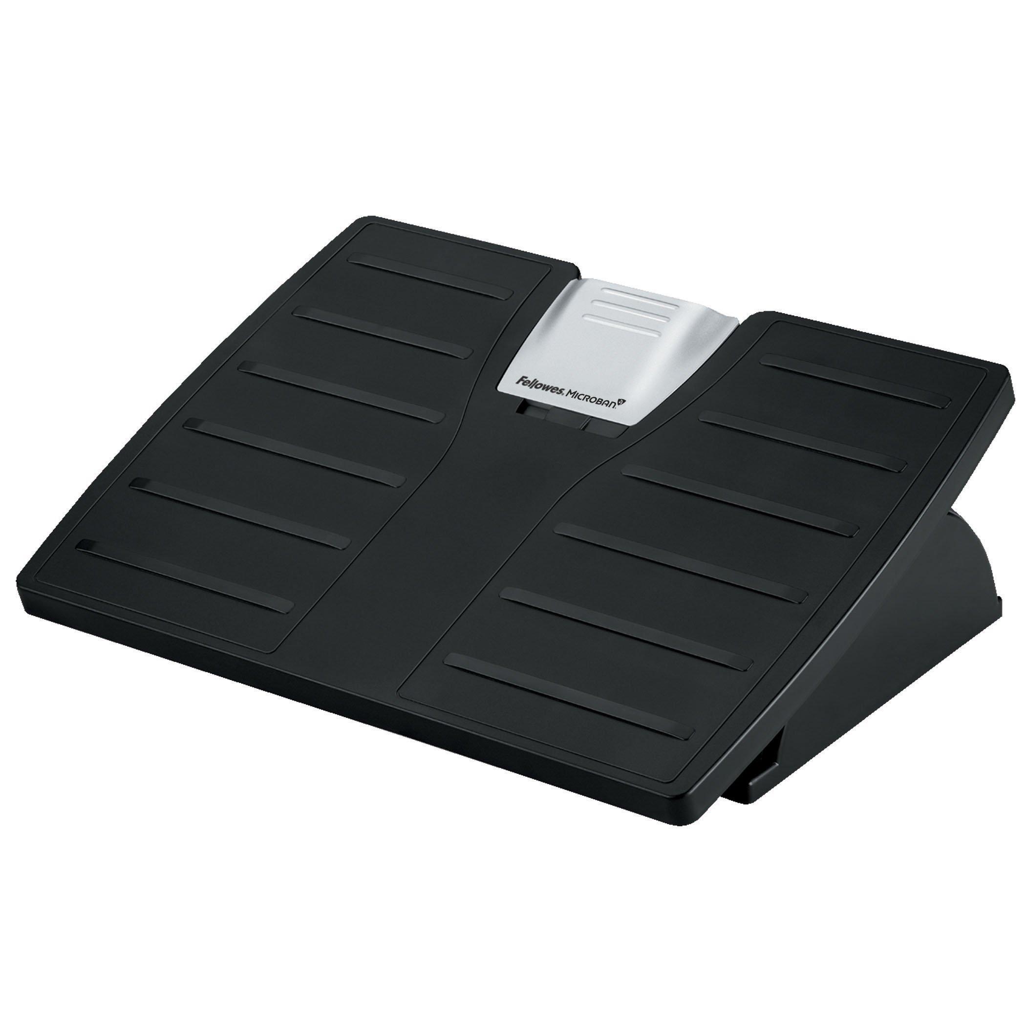 Fellowes 8035001 Adjustable Locking Footrest w/Microban, 17 1/2 x 13 1/8 x 5 5/8, Black/Silver by Fellowes
