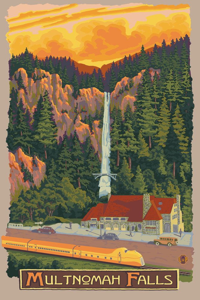 Multnomah Falls View With Train 16 x 24 Signed Art Print LANT-31177-709 B07B2FSV2T 16 x 24 Signed Art Print16 x 24 Signed Art Print