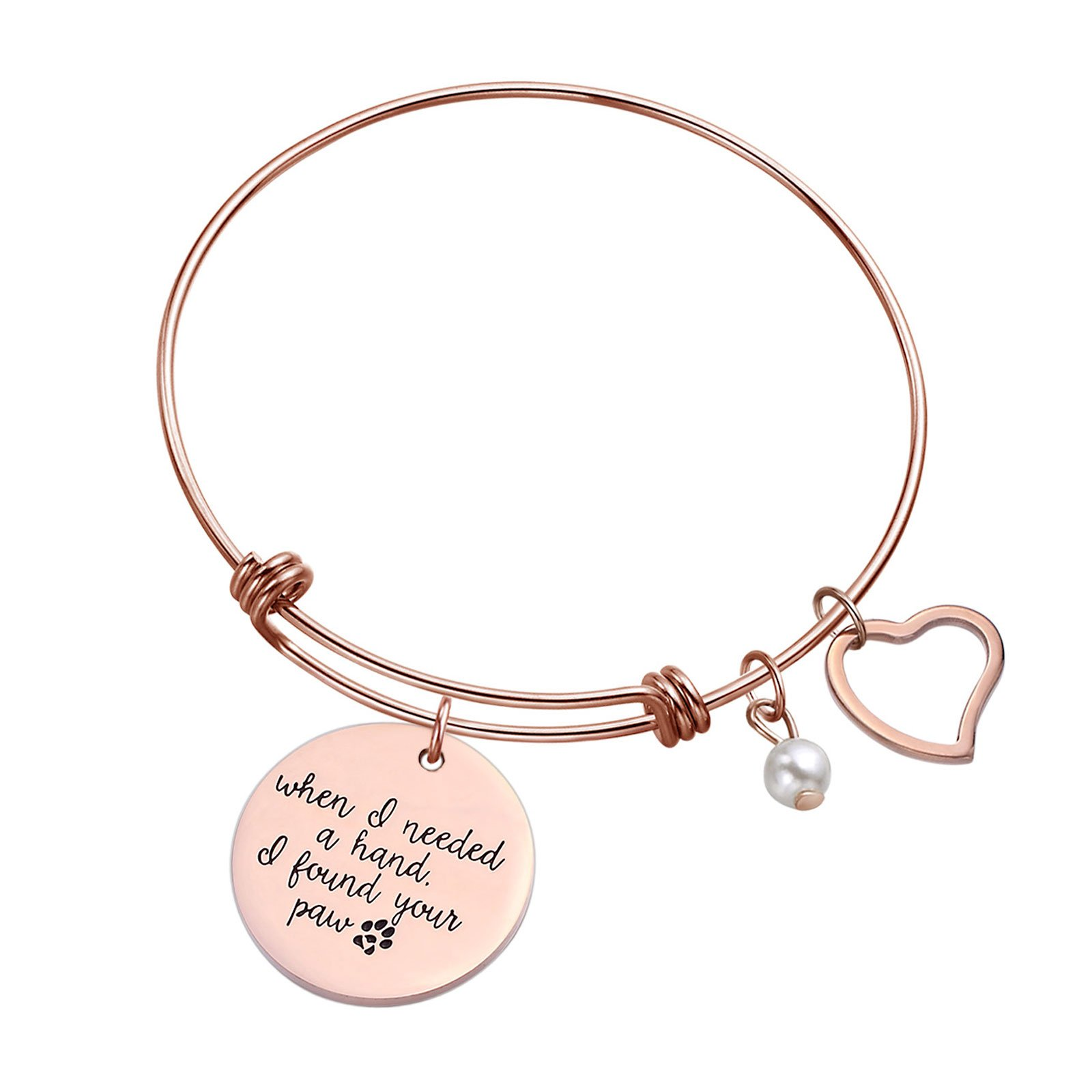 Sunflower Jewellery Charm Bracelet Adjustable Bangle Gift For Women Girl Sister Mother Friends (Rose Gold When I Needed A Hand I Found Your Paw)