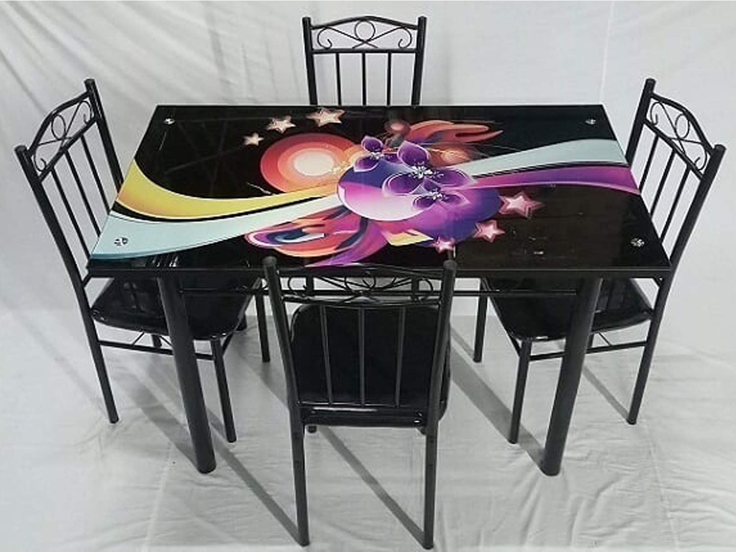 T2a Furniture 4 Seater Glass Top Metal Base Dining Table Set Black Amazon In Home Kitchen