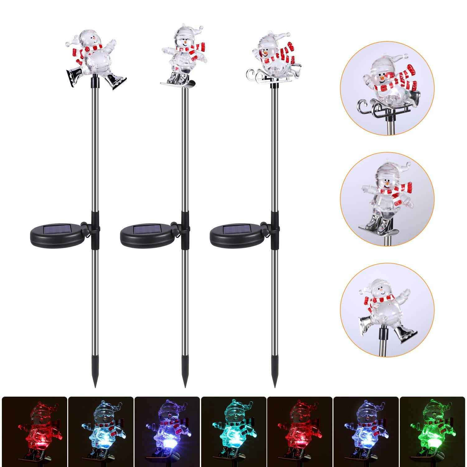 Solar Garden Stake Lights Waterproof Plastic with RGB Color Changing LED Decorative Light for Patio Lawn Holiday Decor 3 Pack Santa Claus 3 PCS Solar Christmas Santa Claus Decorations Outdoor
