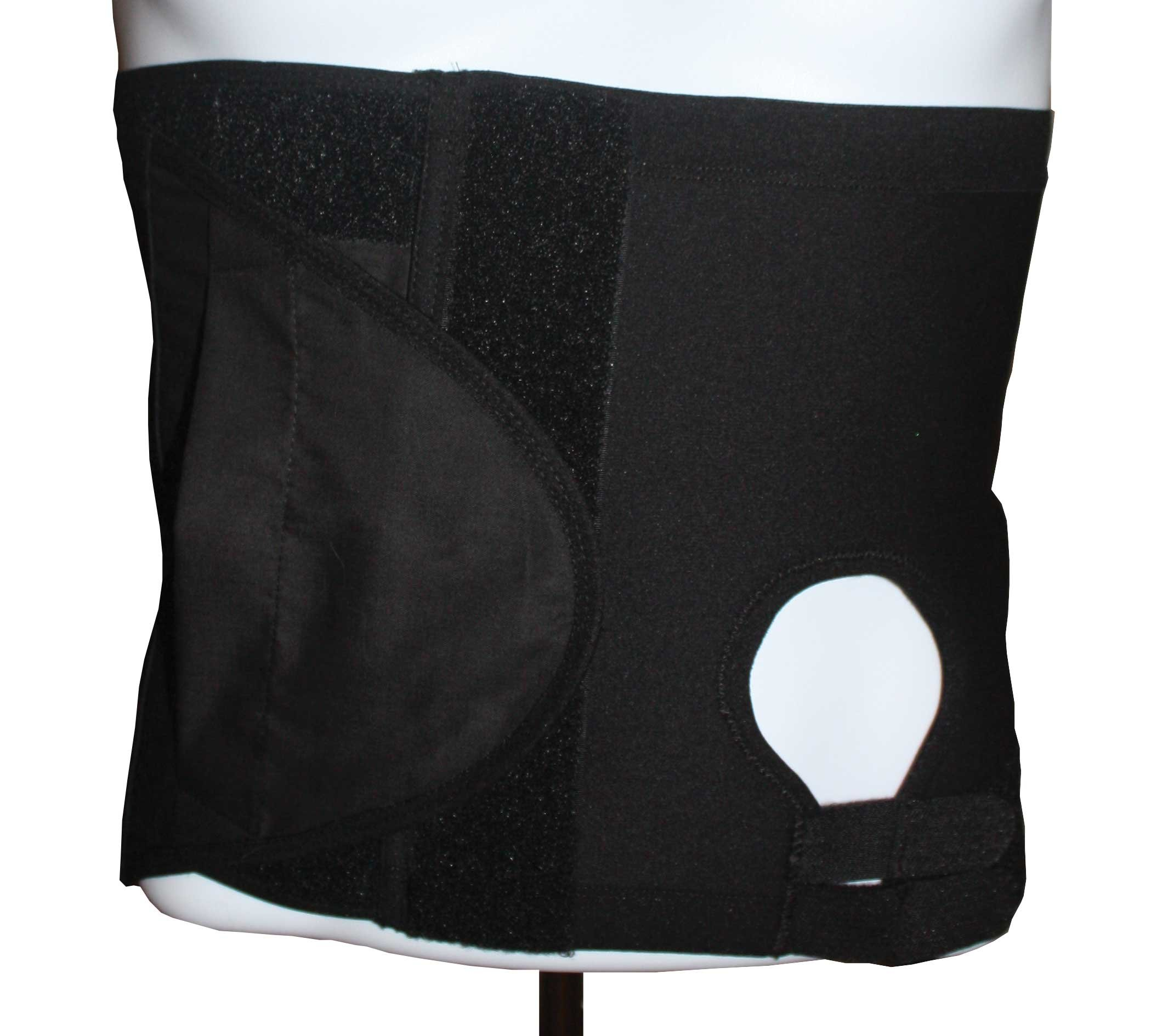 Safe n' Simple Left Hernia Support Belt with Adjustable Hole, 26cm, Black, X-Small