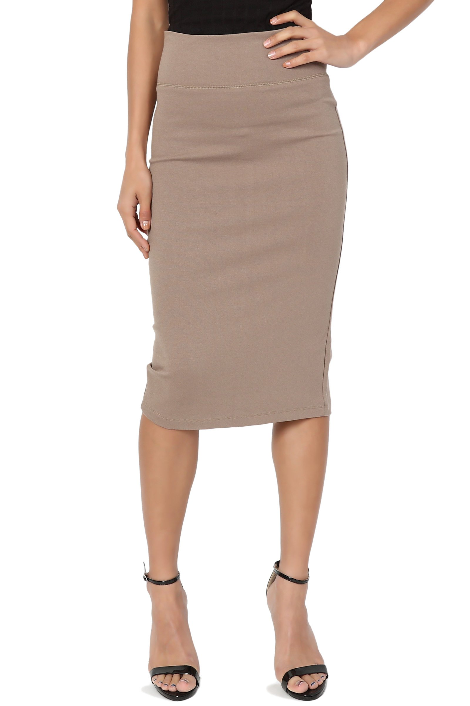 TheMogan Junior's Curvy 4 Way Stretch Ponte High Waist Midi Pencil Skirt Mocha 1XL