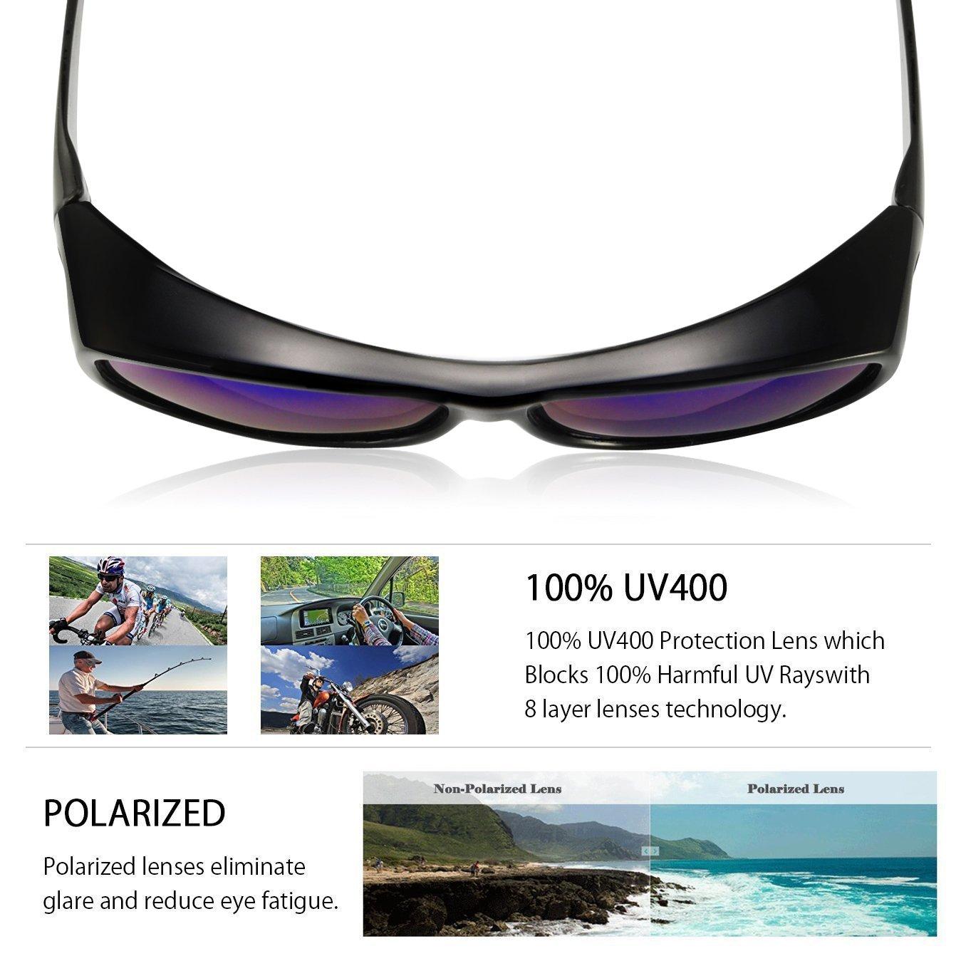 034b99b5ec98 Amazon.com: TINHAO Polarized Solar Shield Fitover Sunglasses - Wear Over  Prescription Glasses.Mirrored Lenses (Oval-Black, Blue): Sports & Outdoors
