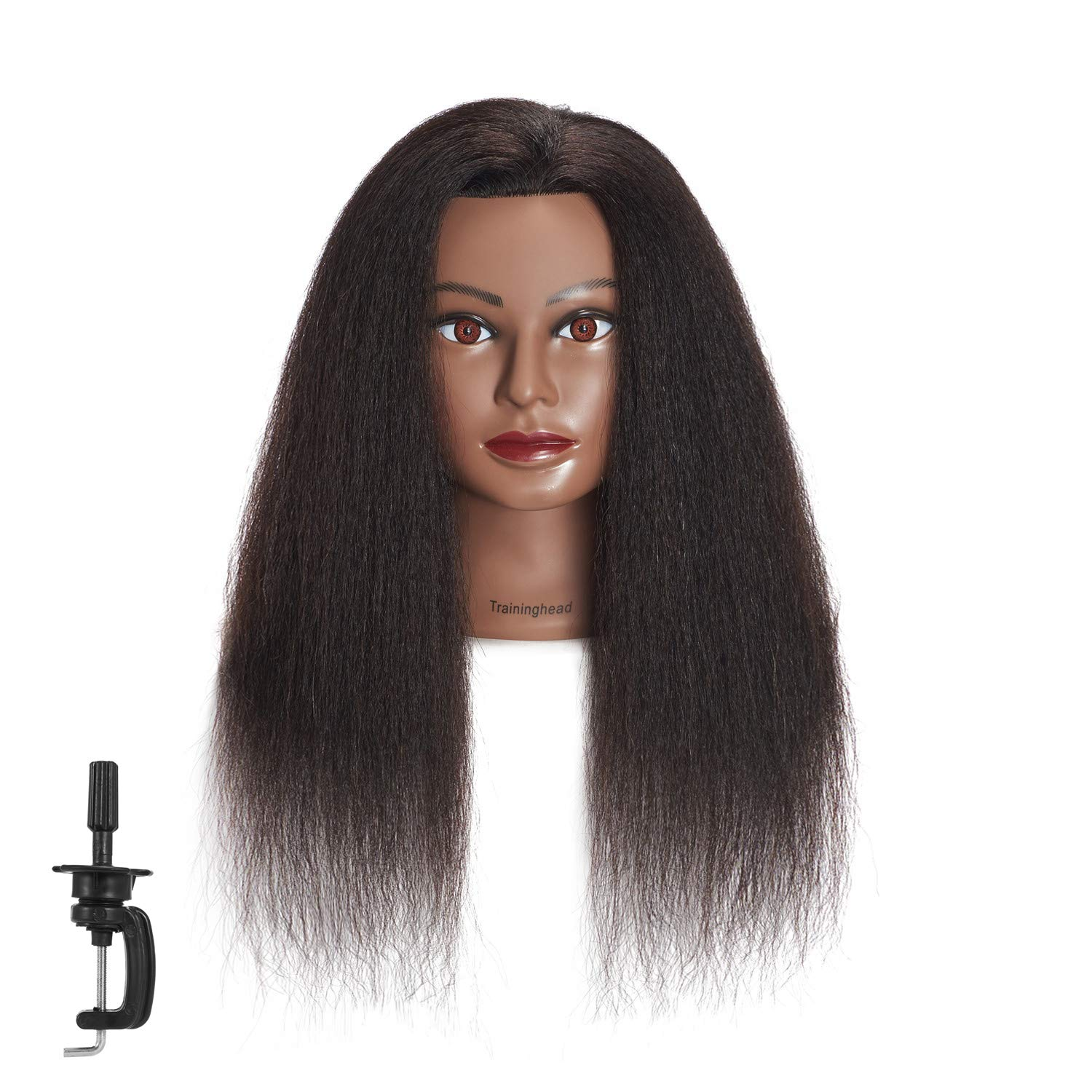 Traininghead 100% Real Hair Afro Mannequin Head Hairdresser Training Practice Head Cosmetology Manikin Head Doll Head With Free Clamp (A) by training head