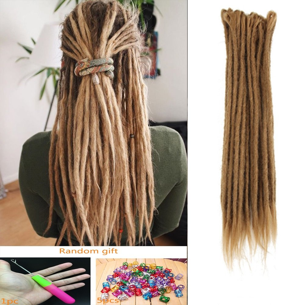 DSOAR Synthetic 20 Inch 12 Strands Handmade Dreadlocks Extensions Twist Braiding Hair Crochet Braids (Light Brown Color)