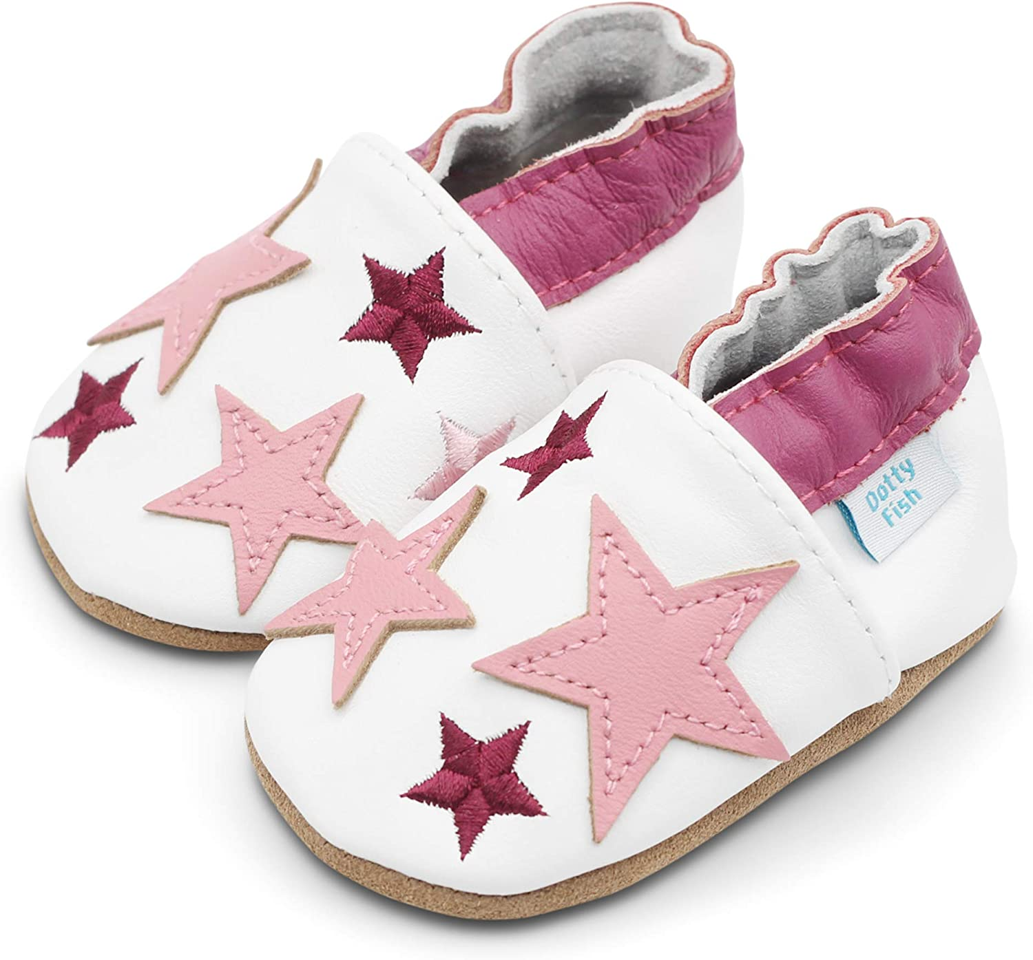 Non Slip Dotty Fish Soft Leather Baby Shoes Toddler Shoes. Boys and Girls with Navy Blue 0-6 Months to 4-5 Years Pink and Grey Stars