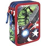 Marvel Avengers 2700-196 Trousse Triple, Premium, 3 compartiments, feutres, crayons, accessoires école 43 pièces, Polyester, Multicolore, Captain America, Iron Man, Thor, Hulk