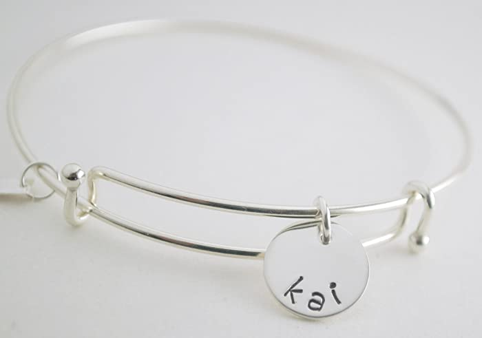 0c18965c43b3 Image Unavailable. Image not available for. Color  Hand Stamped Sterling  Silver Bangle Bracelet ...