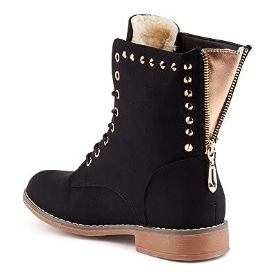 5d5f610130dc Parelia London Damen Schnür Stiefel Reißverschluss Warm Gefüttert  Stiefeletten Nieten Biker Boots