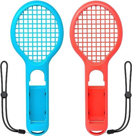 FastSnail - Raqueta de tenis compatible con Nintendo Switch Joy-con, accesorios para juego Mario Tennis Aces, agarres compatibles con Switch Joy-con (azul y rojo): Amazon.es: Electrónica