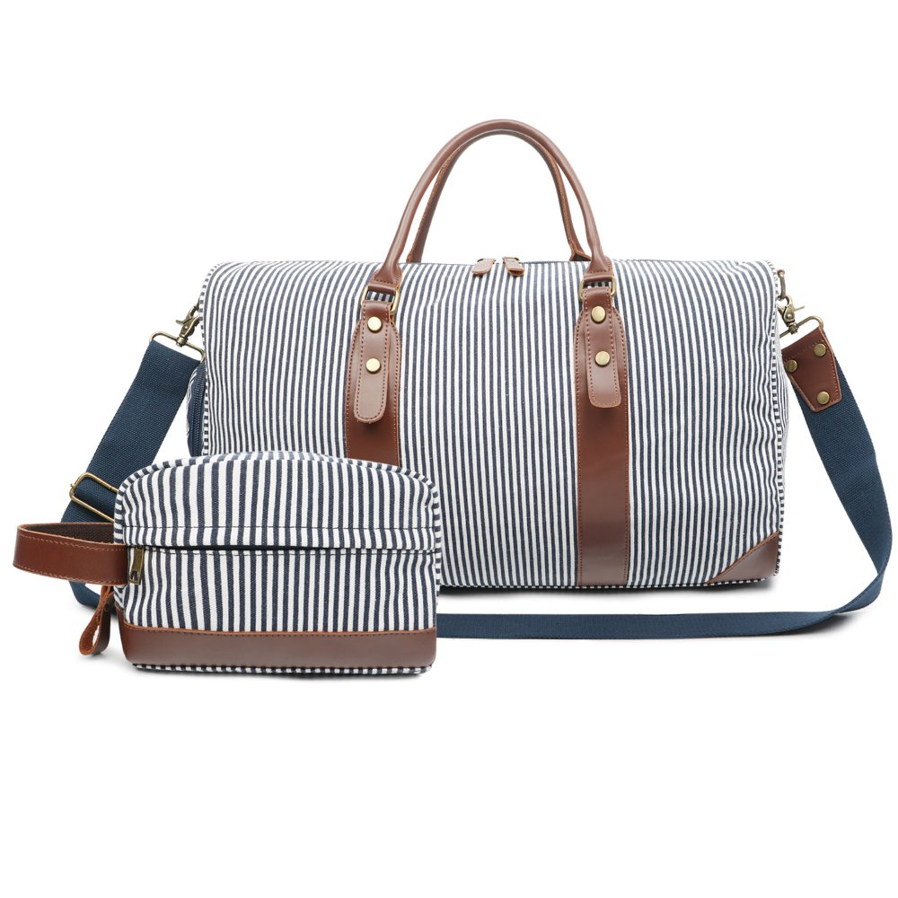 Oflamn 21'' Large Duffle Bag Canvas Leather Weekender Overnight Travel Carry On Bag - Free Toiletries Bag (Blue/White Stripe)