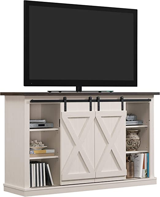 3. Pamari Wrangler Sliding Barn Door TV Stand, Off-White