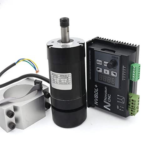 Blushless 400W Air Cooled Spindle motor kit 12000rmp ER8 NVBDL + Blushless  600W Motor Driver without Hall LCD Panel + 55mm Clamp Mount 【For small and