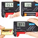 Hapurs Battery Tester Volt Checker Easy-to-Read Digit Showed Power Level for Aa Aaa C D 9V 1.5V Button Cell BT-168D Batteries