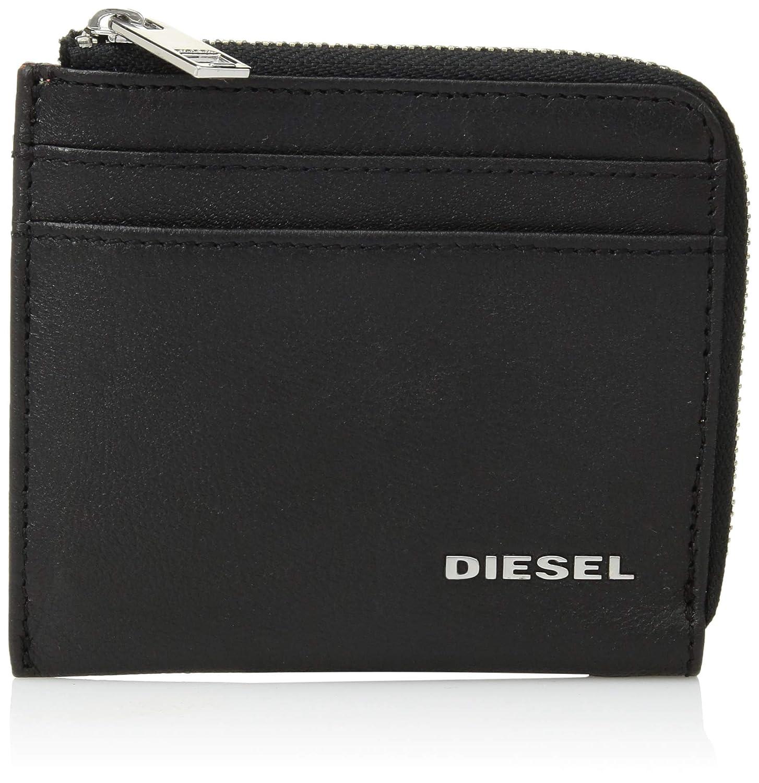 Diesel Men's Fresh Starter Pass-Me-Card-Holder Black/PUREED Pumpkin One Size X05607P1752H6818