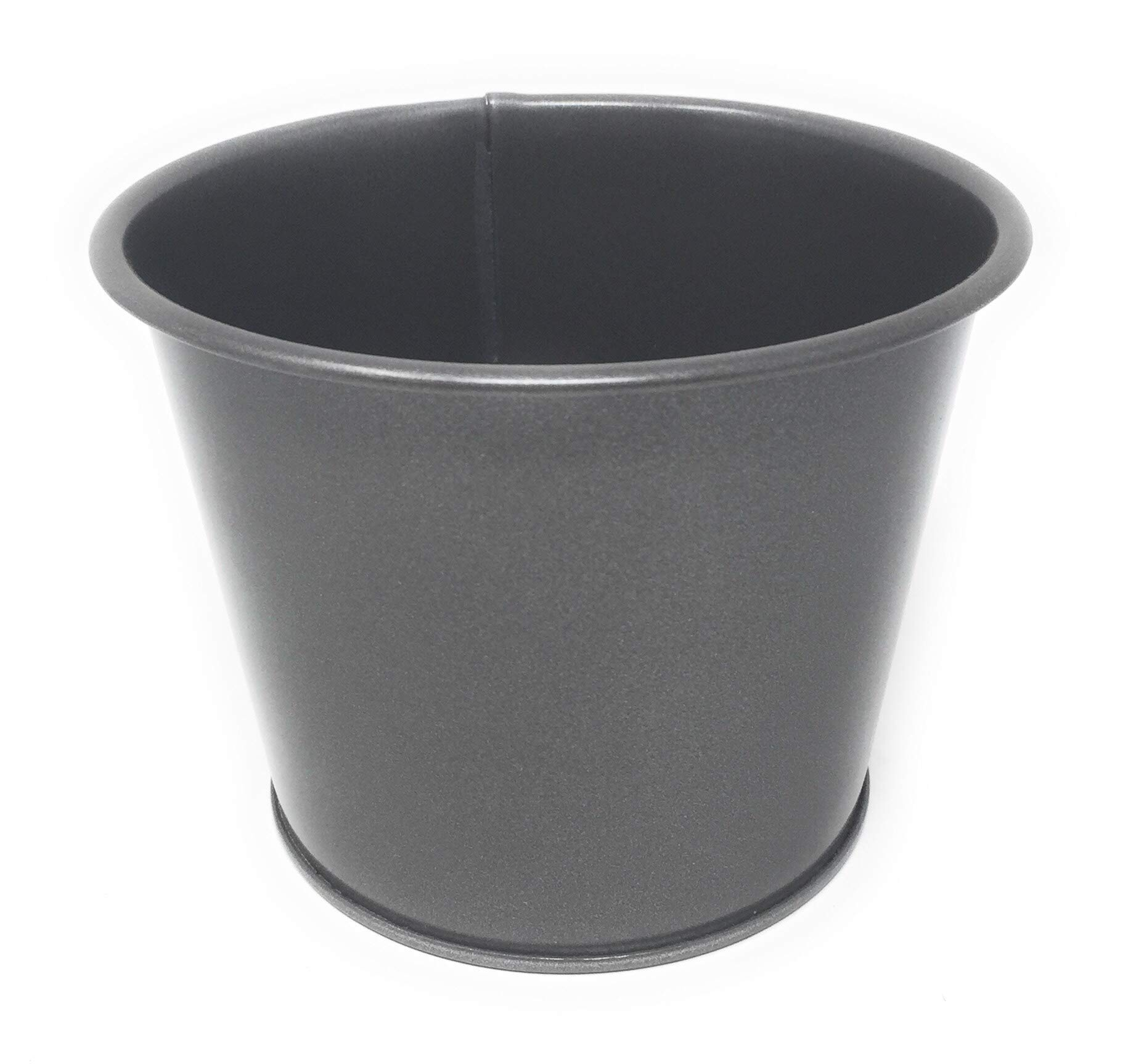 Serene Spaces Living Shiny Zinc Buckets, Ideal as Metal Vases, Set of 2, Each Measures 3.5'' Tall x 4.75'' Diameter