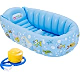 Inflatable Bath Tub Bathtub for Baby, Portable and Foldable Non Slip Mini Swimming Pool for for New Born Baby Infant Kids Boys Girls (Blue)
