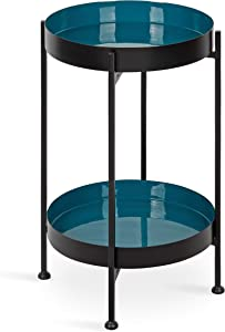 """Kate and Laurel Nira Two-Tiered Mid-Century Side Table, 15"""" x 15"""" x 24"""", Teal and Black, Chic Modern End Table for Storage and Decor"""