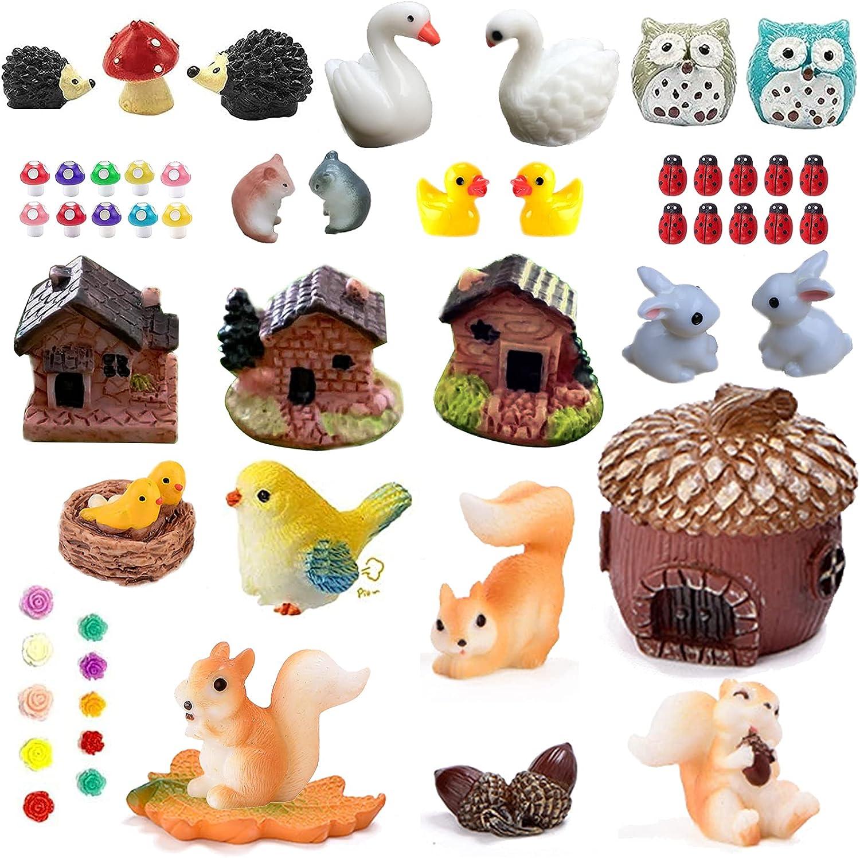 54 Miniature Fairy Garden Decorations, Including Miniature Fairy Garden Houses, Animals, Miniature Statues, Micro Landscape Decoration Kits, DIY Doll House Decoration Kits, Flower Pot Decorations