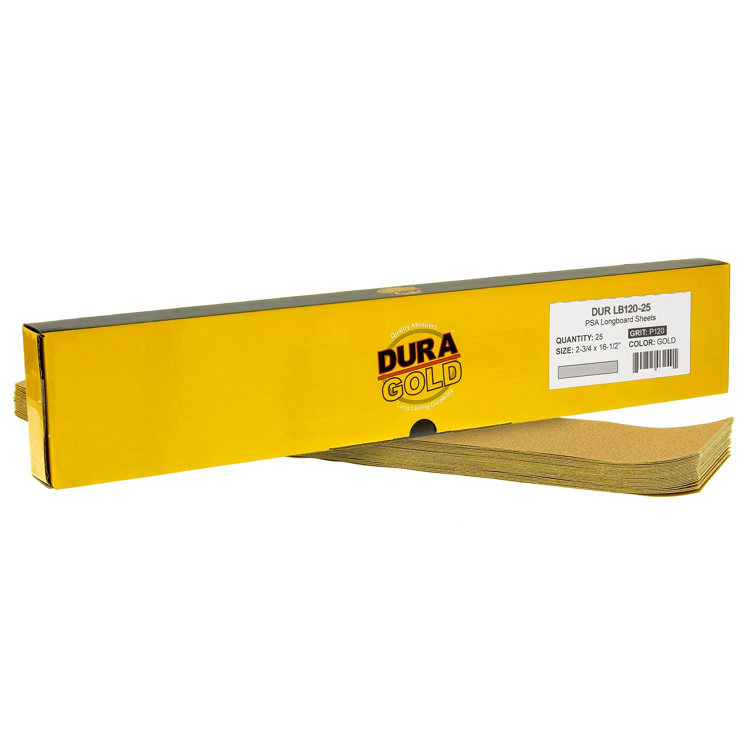 Dura-Gold - Premium - 120 Grit Gold - Pre-Cut Longboard Sheets 2-3/4'' wide by 16-1/2'' long - PSA Self Adhesive Stickyback Longboard Sandpaper - Box of 25 Sandpaper Finishing Sheets