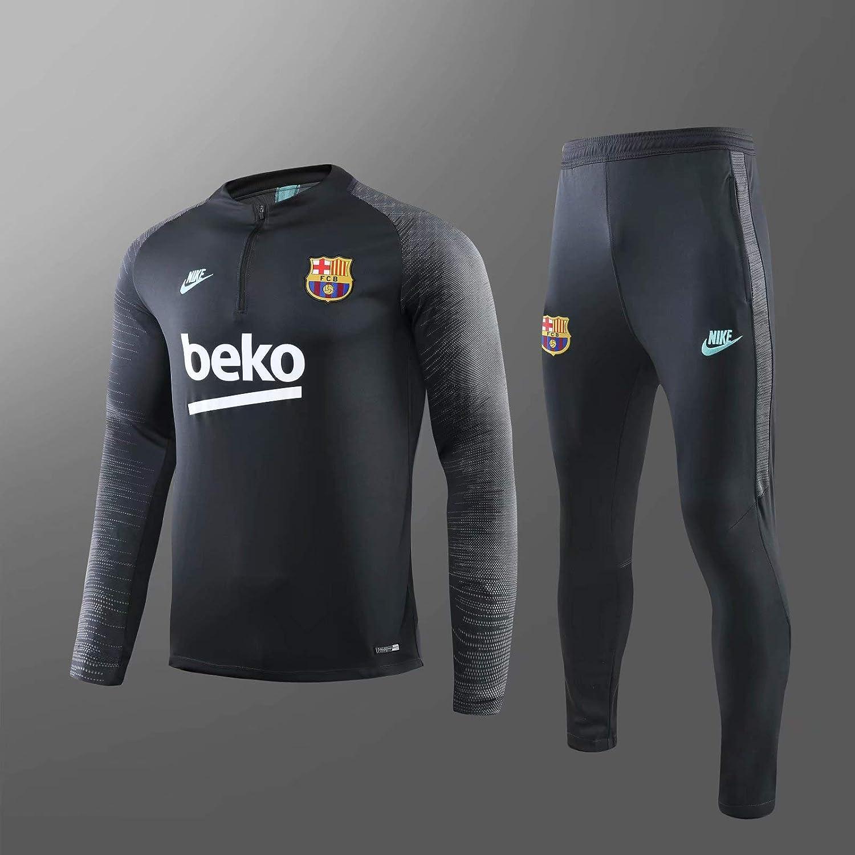 Ensemble Surv/êtement FC Barcelone Gris//Noir Dry-fit Mens//Girls Saison 2019//2020