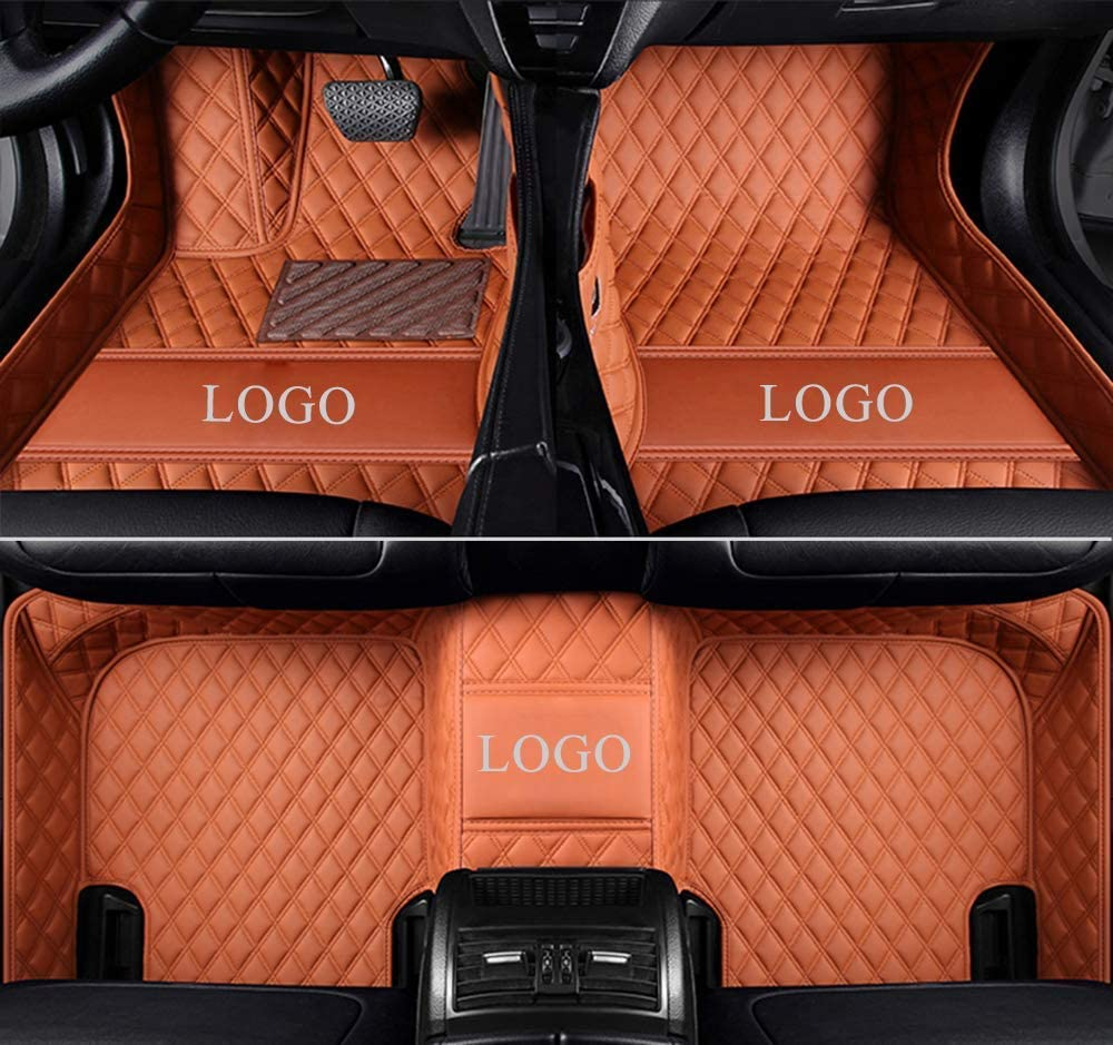 ZYCHUANGYING Custom Fit Luxury Leather Waterproof Floor Mat for Landrover Range Rover Regular Base Model 2007-2012 5 Seat(Brown