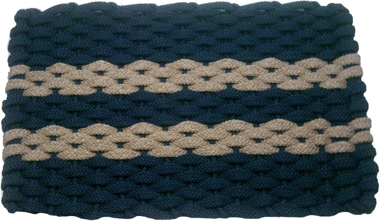 Rockport Rope Doormats 2034312 Indoor Outdoor Doormats, 20 x 34 , Navy with 2 Tan Stripes with Navy Insert