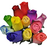 2 Dozen (24) Wooden Roses Colorful Arrangement in Sleeve