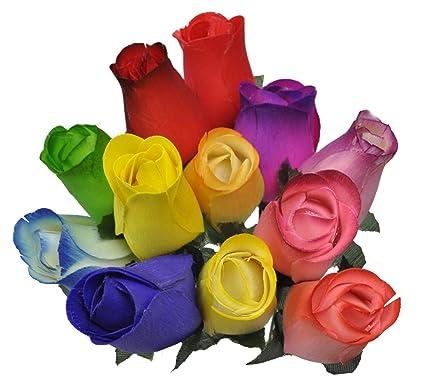 2 Dozen 24 Wooden Roses Colorful Arrangement In Sleeve