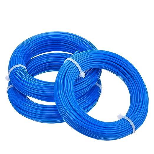 LuLyLu 3 Piezas 1,65 mm Hilo de Desbrozadora Redondo Cable de Recortadora Carrete de Reemplazo para Desbrozadora de Hierba Podadera, 15 m by