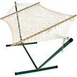Cotton Rope Double Hammock with Stand and Wood Spreader Bar, 2 Person, 350 lb Weight Capacity by Sunnydaze