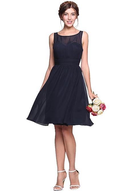 63cb33ca624a Meharbour Short Chiffon Bridesmaid Dress, Chiffon Short Bridesmaid Dresses  Blue Sleeveless Pleated Little Cocktail Party Dress Mini Dresses for Women  Party ...