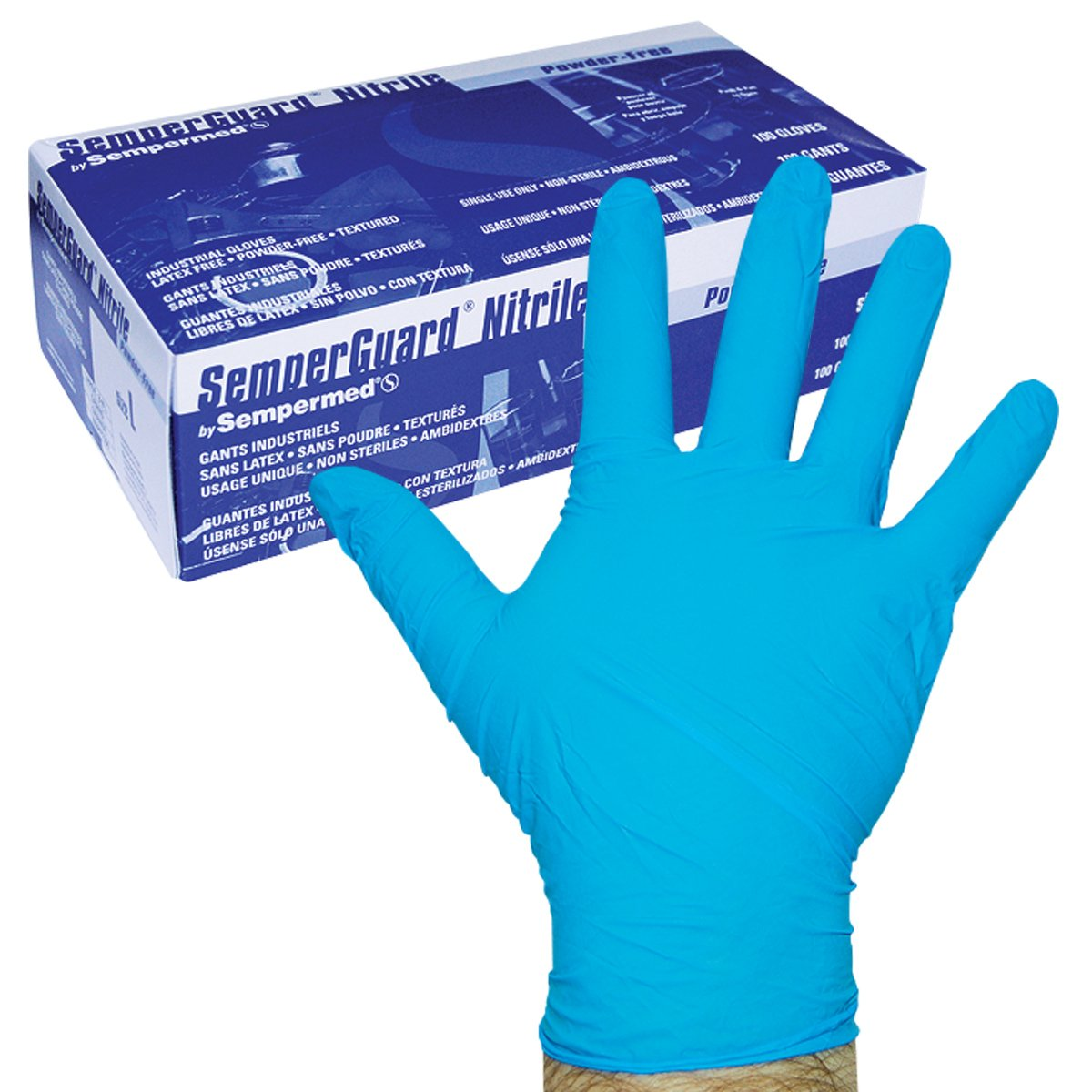 Sempermed 4-Mil Blue Nitrile Gloves-MediumBox/100, Medium