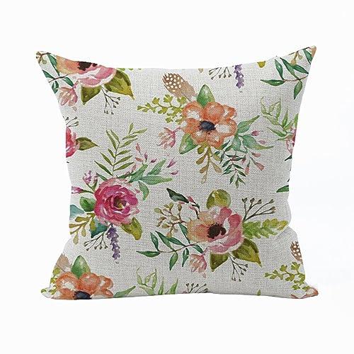 Flower cushion amazon nunubee flower pillow cover cotton sofa decor throw pillowcase sham decor cushion cover multicolor mightylinksfo
